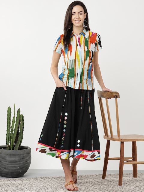Sangria Women Multicoloured Printed Shirt with Palazzos