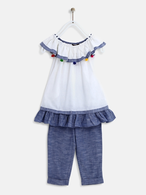 Sangria Girls White & Blue Solid Top with Trousers