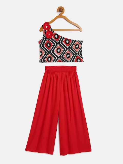 Sangria Girls Red & Black Printed Top with Palazzos