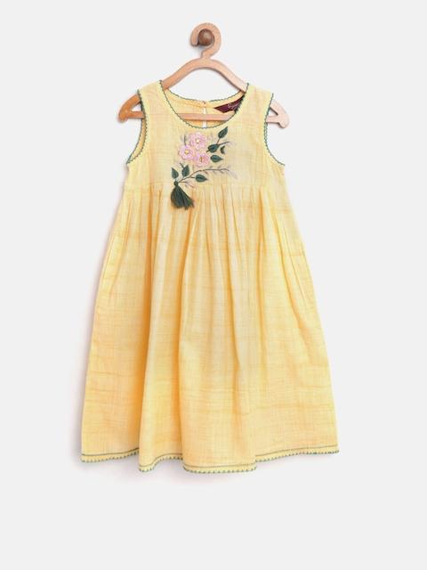 Sangria Girls Yellow Embroidered Kurta