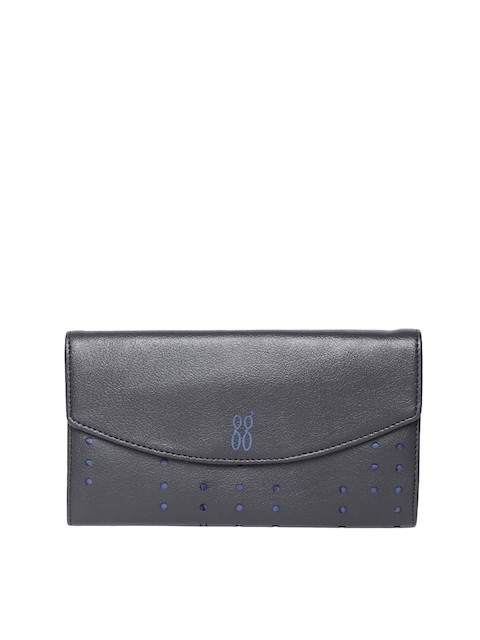 Baggit Women Black Solid Two Fold Wallet With Cut Work Detail