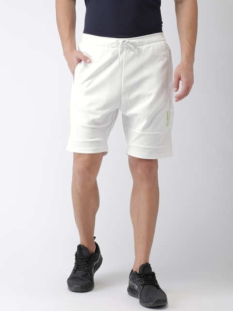 Kappa Men White Solid Regular Fit Sports Shorts