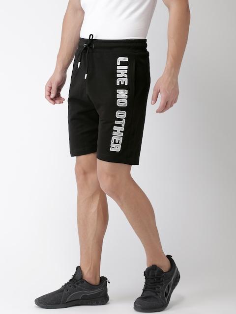Kappa Men Black Printed Regular Fit Sports Shorts