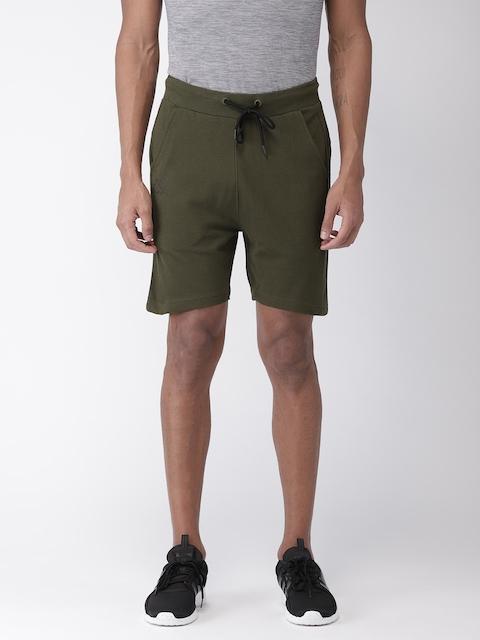 Kappa Men Olive Green Self Design Regular Fit Shorts