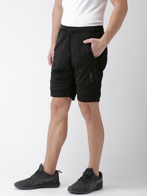 Kappa Men Black Solid Regular Fit Sports Shorts