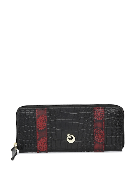 Holii Women Black & Red Textured Zip Around Wallet