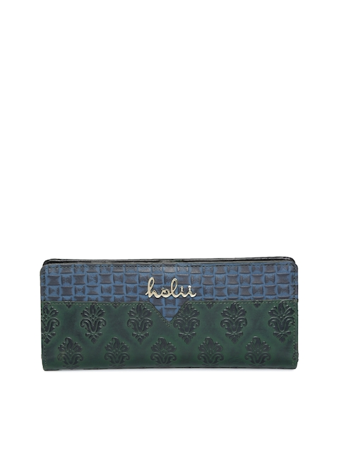 Holii Women Green & Blue Self Design Two Fold Wallet