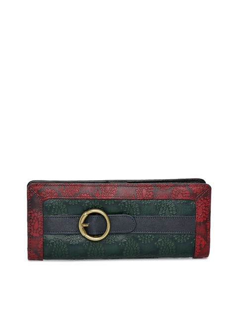 Holii Women Green & Red Textured Two Fold Leather Wallet
