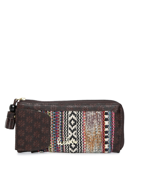 Holii Women Brown Textured Zip Around Wallet