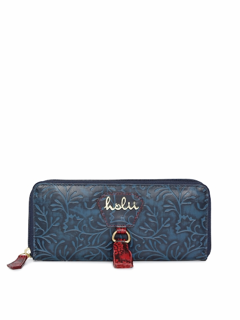 Holii Women Blue Textured Leather Zip Around Wallet