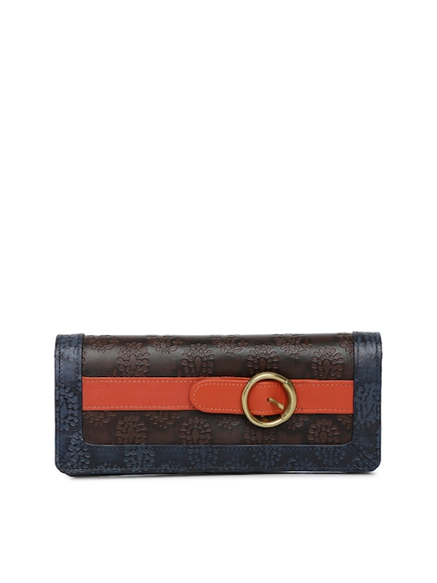 Holii Women Brown & Blue Self Design Two Fold Wallet