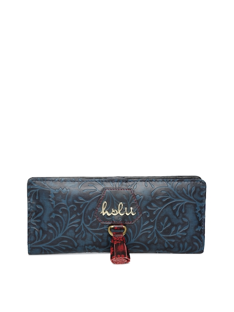 Holii Women Blue Textured Two Fold Leather Wallet