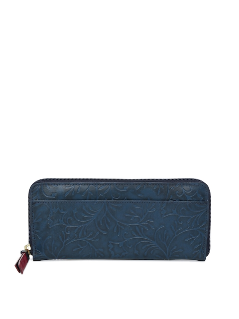 Holii Women Blue Textured Zip Around Leather Wallet