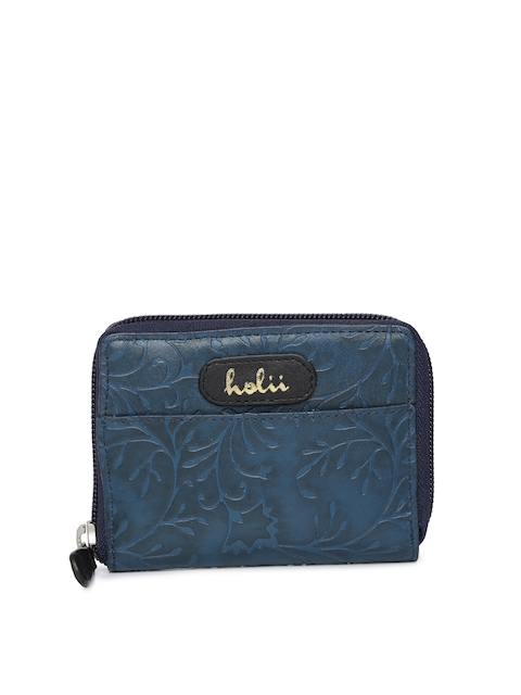 Holii Women Blue Solid Zip Around Wallet
