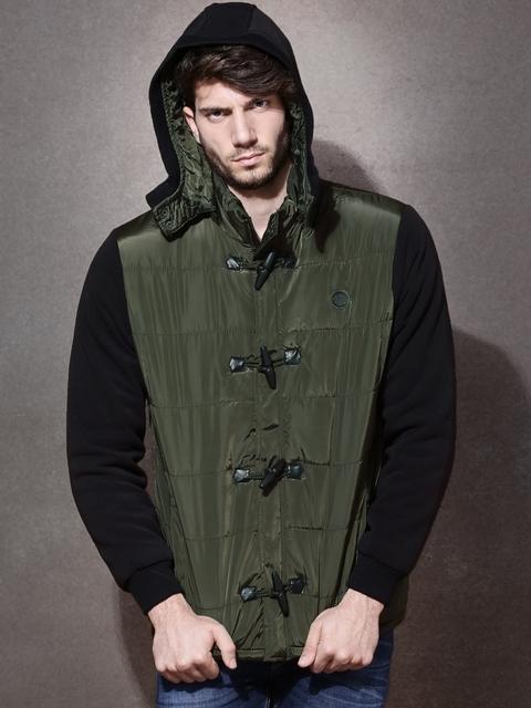 Roadster Olive Green Padded Hooded Jacket