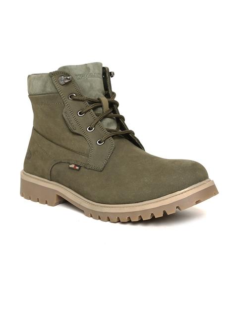 Woodland Men Olive Green Nubuck Leather Chukka Boots
