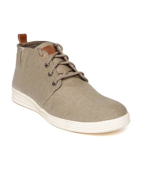 Woodland Men Beige Mid-Top Derbys