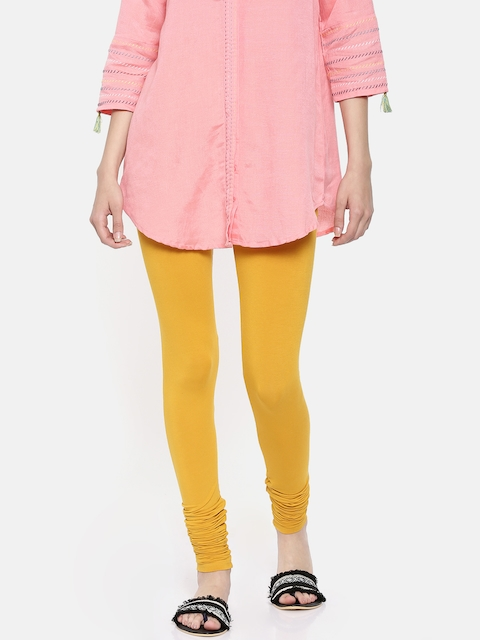 Melange by Lifestyle Women Mustard Yellow Solid Churidar