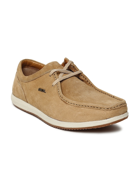 Woodland Men Camel Brown Nubuck Derbys
