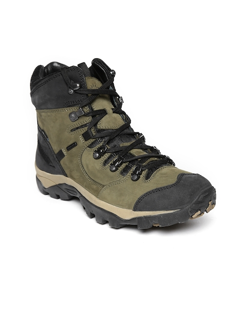 Woodland Pro Planet Men Olive Green Solid Nubuck Leather Mid-Top Flat Boots