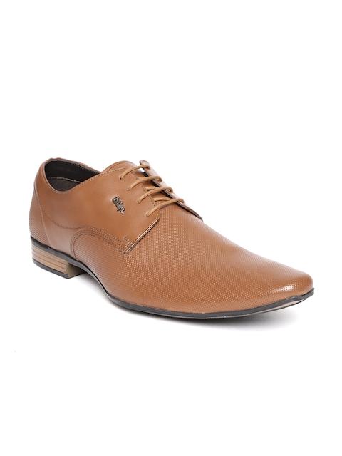Lee Cooper Men Tan Brown Textured Leather Formal Derbys
