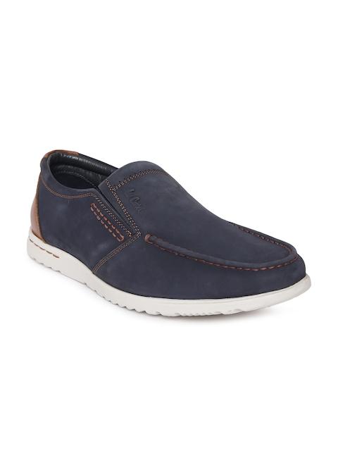 Lee Cooper Men Navy Blue Leather Loafers