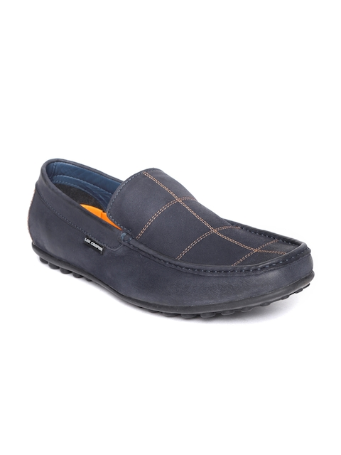 Lee Cooper Men Navy Blue Checked Leather Loafers