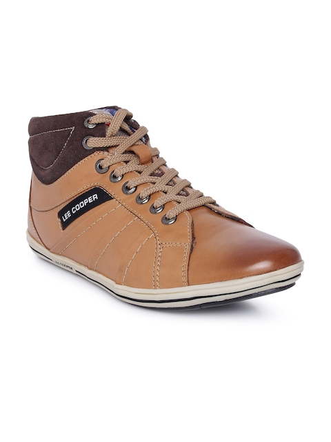Lee Cooper Men Tan Brown Leather Flat Boots