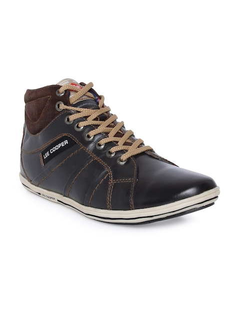 Lee Cooper Men Brown Leather Flat Boots