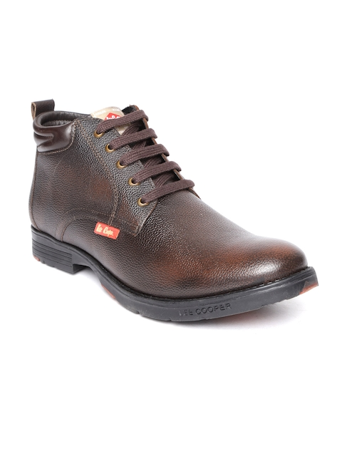 Lee Cooper Men Coffee Brown Solid Leather Mid-Top Flat Boots