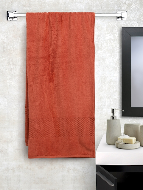 SPACES Unisex Rust Red Solid Cotton 450 GSM Swift Dry Bath Towel