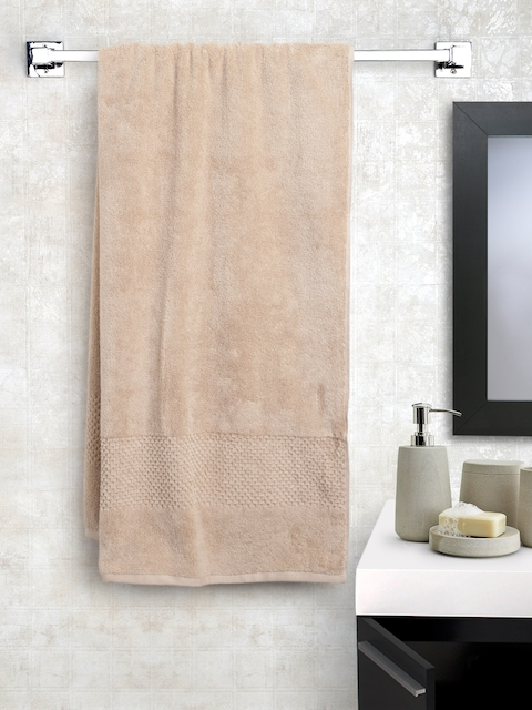 SPACES Unisex Beige Solid Cotton 450 GSM Swift Dry Bath Towel