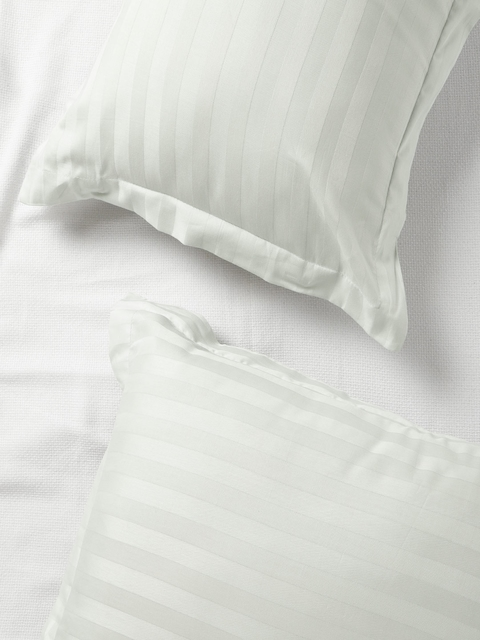 SPACES Set of 2 Light Grey 210 TC Self-Striped Pillow Covers