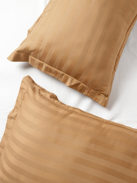 SPACES Set of 2 Brown 210 TC Self-Striped Pillow Covers