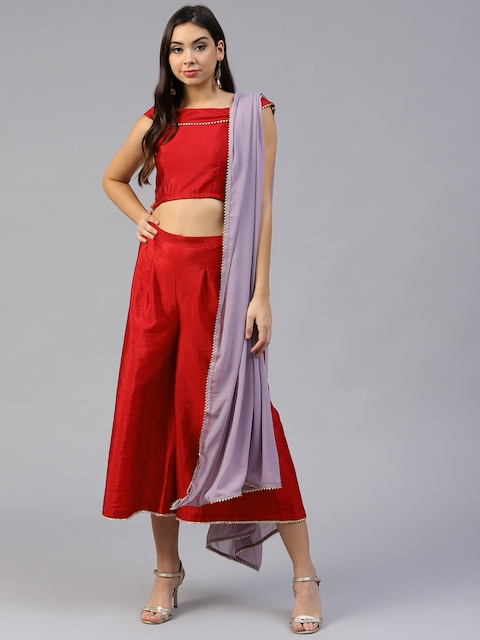 Inddus Women Red Solid Top with Palazzos and Dupatta