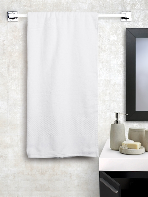 SPACES Unisex White Solid Cotton 450 GSM Swift Dry Bath Towel
