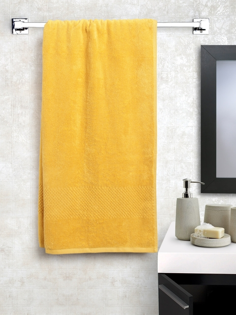 SPACES Unisex Yellow Solid Cotton 450 GSM Swift Dry Bath Towel