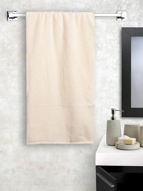 SPACES Unisex Cream-Coloured Solid Swift Dry Cotton 450 GSM Bath Towel