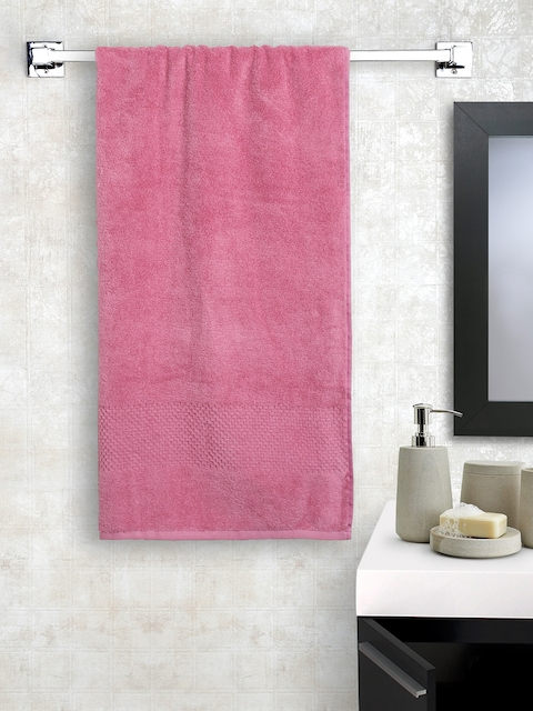 SPACES Unisex Pink Solid Swift Dry Cotton 450 GSM Bath Towel