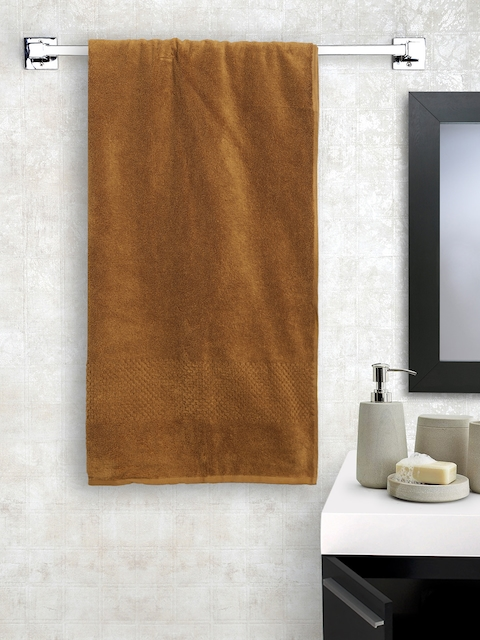 SPACES Unisex Mustard Brown Solid Swift Dry Cotton 450 GSM Bath Towel