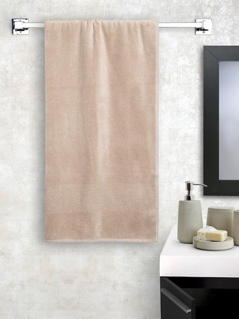 SPACES Unisex Beige Solid Swift Dry Cotton 450 GSM Bath Towel