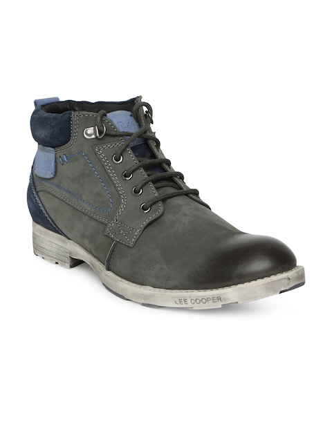 Lee Cooper Men Grey Leather Flat Boots