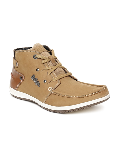 Lee Cooper Men Camel Brown Leather Flat Boots