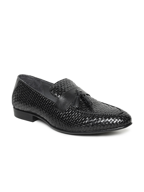 Lee Cooper Men Black Semiformal Leather Tassel Loafers