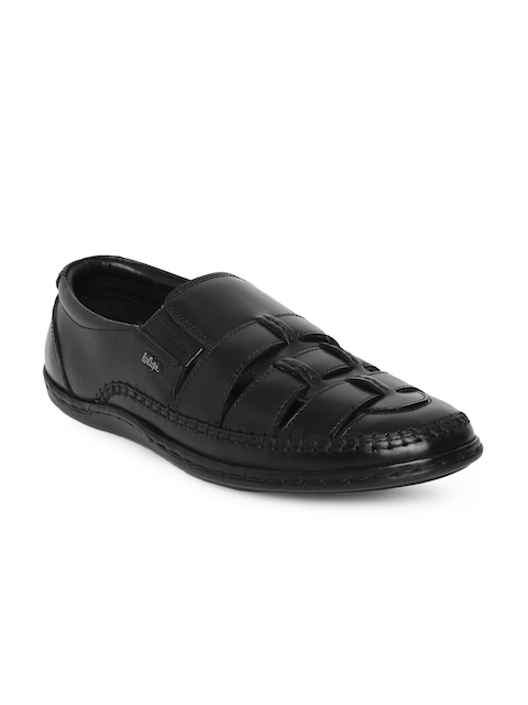 Lee Cooper Men Black Woven Design Leather Loafers