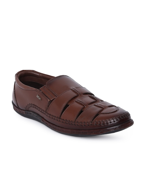 Lee Cooper Men Brown Woven Design Leather Loafers