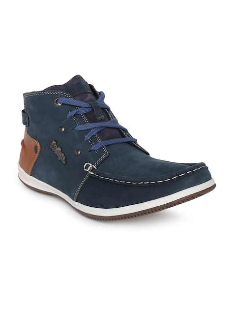 Lee Cooper Men Blue Solid Leather Mid-Top Flat Boots