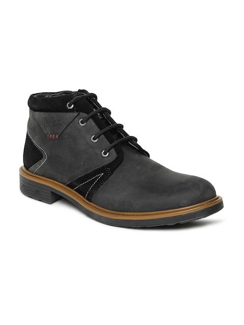 Lee Cooper Men Black Leather Mid-Top Flat Boots