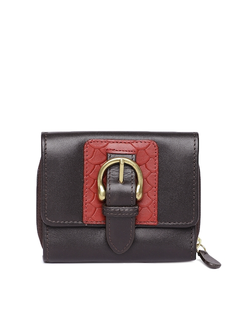 Hidesign Women Brown Leather Solid Three Fold Wallet