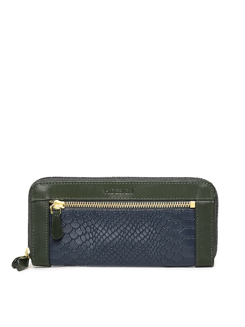 Hidesign Women Blue & Green Textured Zip Around Wallet